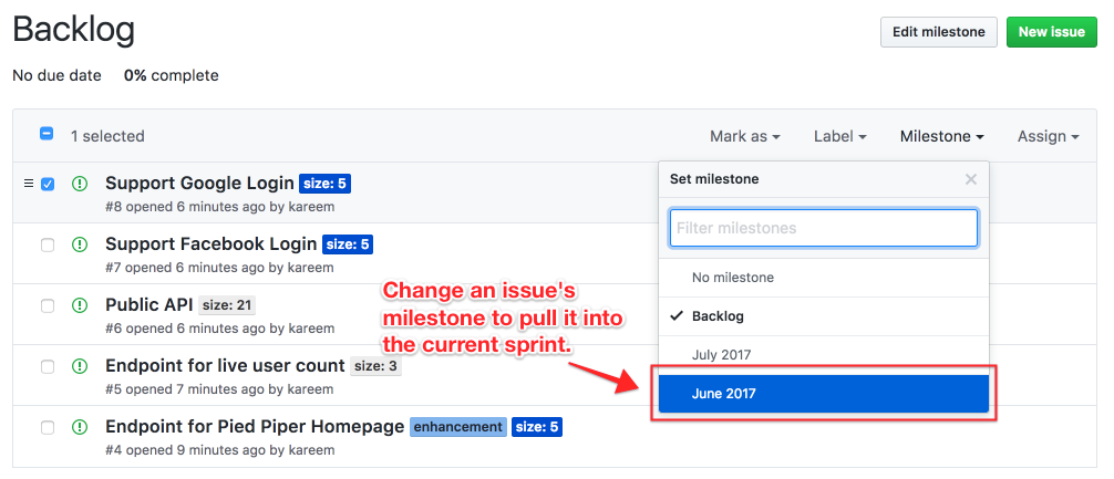 011 move issue to current sprint github